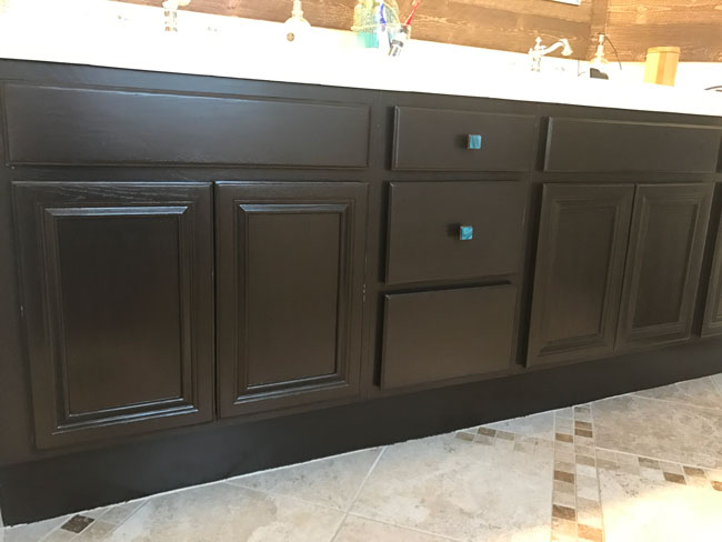 How to Paint Cabinets with Gel Stain - Update Your Bathroom for less