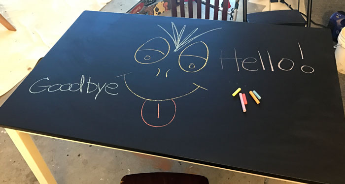 Kids Table Turned Fun Chalk Top