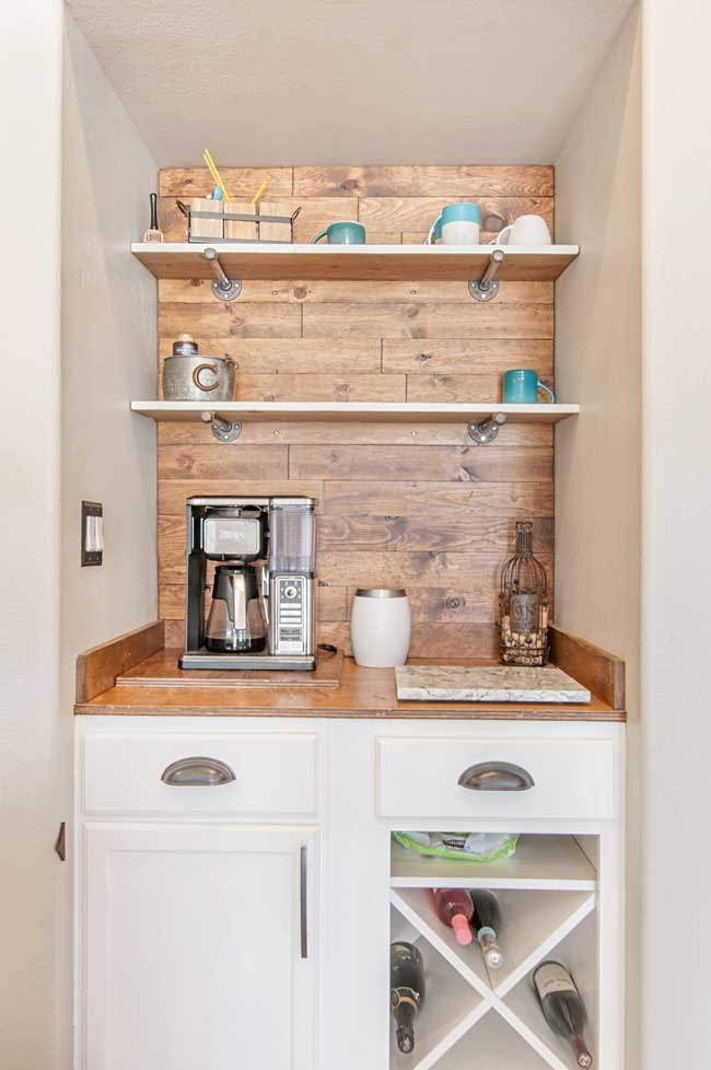 DIY Bar with Wood Wall, Wine Rack and Pullout Trashcan