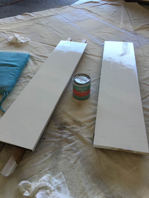 Painted top of shelves with chalk paint