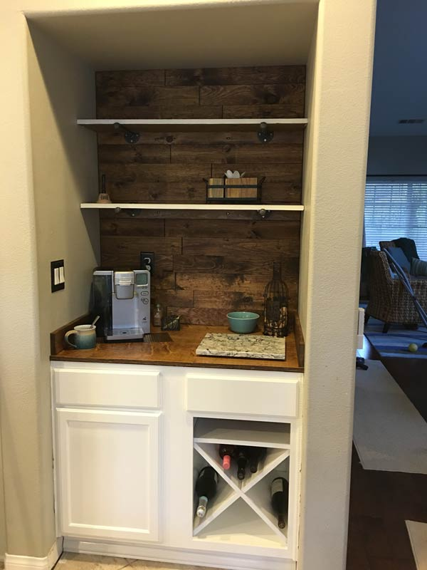 Completed wine and coffee bar, waiting for cabinet hardware