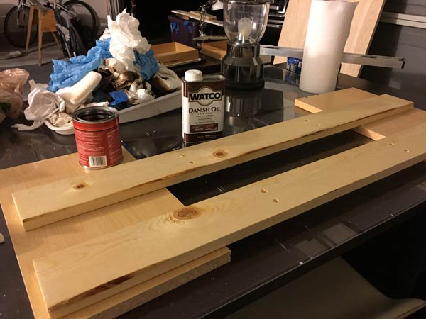 Preparing boards with stain for shelf mount