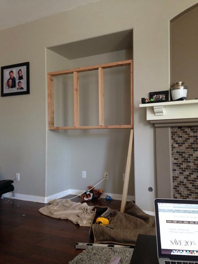 This was the frame we built to dry wall and mount the TV too.