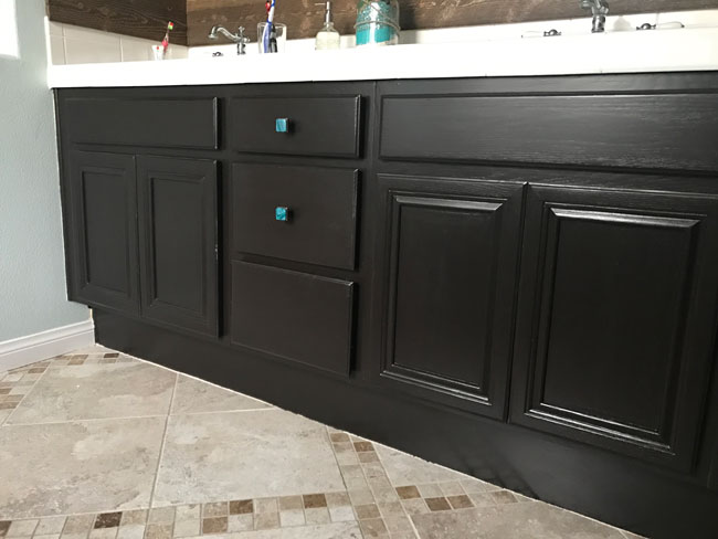 Refinished Cabinets using General Finishes Gel Stain as a Paint