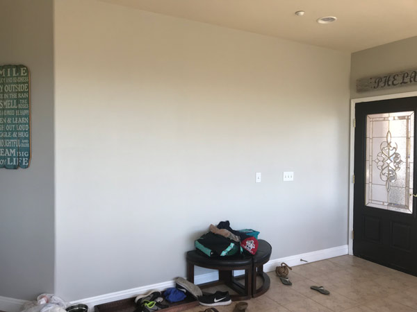 Painted the wall with Sherwin Williams Repose Gray in Satin