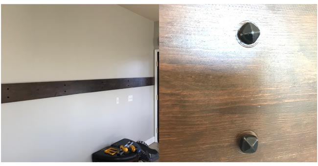Securing the plank to wall with decorative screws