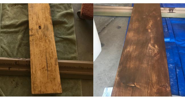 Staining the wood plank with danish oil and minwax express